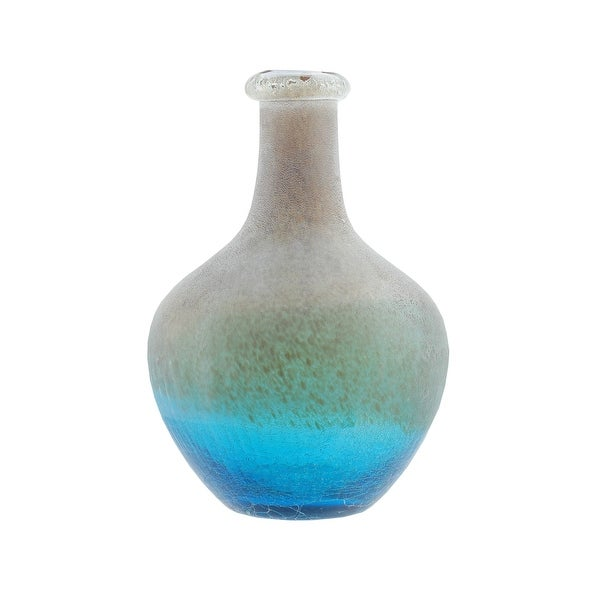 """12.25"""" Azure Blue Crackled and Brown Frosted Hand Blown Glass Vase"""
