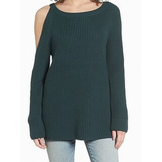 Treasure & Bond Green Womens Size Small S Asymmetric Cut-Out Sweater