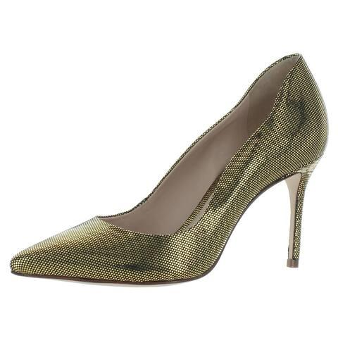 Schutz Womens Analira Dress Heels Metallic Pointed Toe - Gold