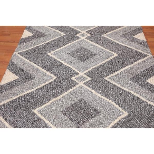 Hand Made Geometric Grey Ivory Area Rug Wool Modern Contemporary Oriental Area Rug 5x7 5 3 X 7 6 Overstock 31523609