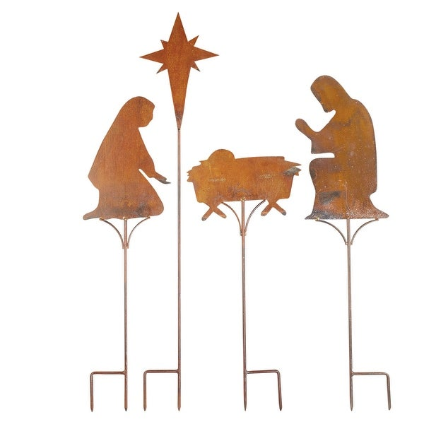 Yard Nativity Decoration Set of 3 Metal Christmas Stakes Garden Outdoor Signs