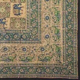 Handmade Elephant Block Print Batik Tablecloth 100% Cotton 60x90 Inches Rectanfgular in three shades - Green Brown & Gray