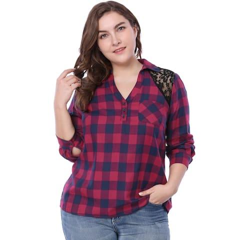 Unique Bargains Women Plus Size V Neck Lace Panel Summer Comfy Plaid Shirt - Red