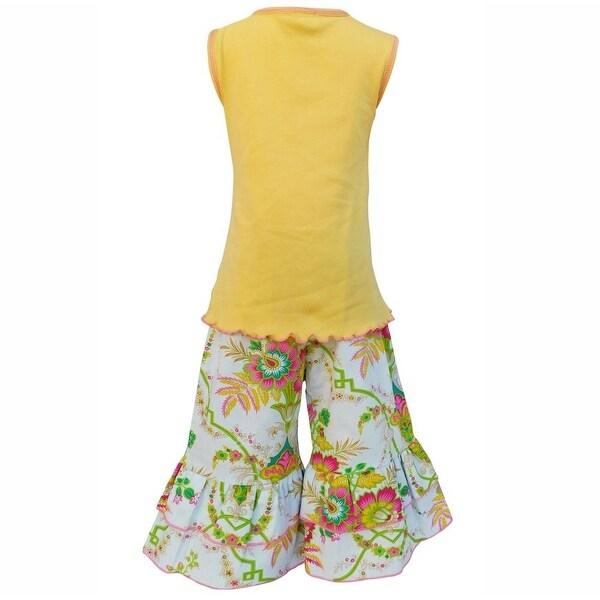 AnnLoren Baby Girls Yellow Elephant Floral Tank 2 Pc Capri Outfit