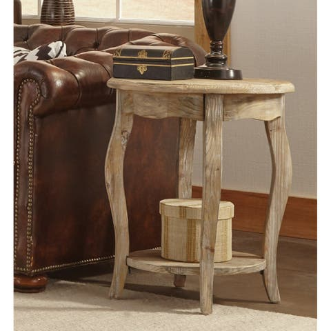 Alaterre Rustic Reclaimed Round End Table