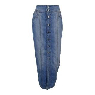 INC International Concepts Women's Button-Front Denim Maxi Skirt - 4