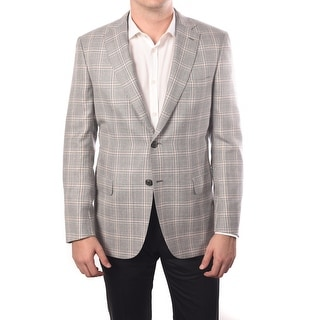 Brioni Men Plaid 100% Wool Two-Button Sport Jacket Blazer Grey