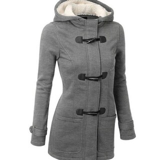 Women's Autumn And Winter New Horns Buckle Coat Thickening In The Long Hats