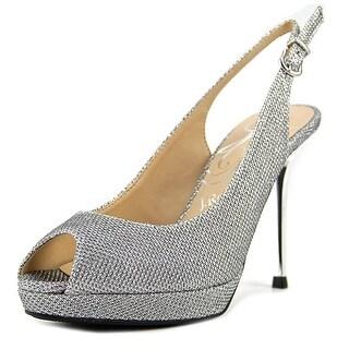 J. Renee Olive Women  Peep-Toe Patent Leather Silver Slingback Heel