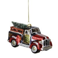 "5.25"" Multi-Color Glittered Glass Truck with Tree Christmas Ornament - multi"