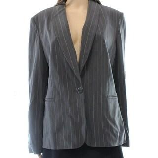 Jones New York NEW Gray White Women's Size 16 Pinstripe Jacket Blazer