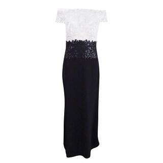Tadashi Shoji Women's Lace Off-The-Shoulder Colorblocked Gown (4, Ivory/Black) - IVORY/BLACK - 3x