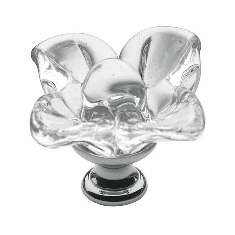 Baldwin 4308 Crystal 1-3/8 Inch Diameter Glass Flower Designer Cabinet Knob from the Estate Collection