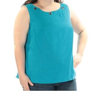 KASPER $79 Womens New 1139 Blue Eyelet Jewel Neck Sleeveless Top 22W Plus B+B