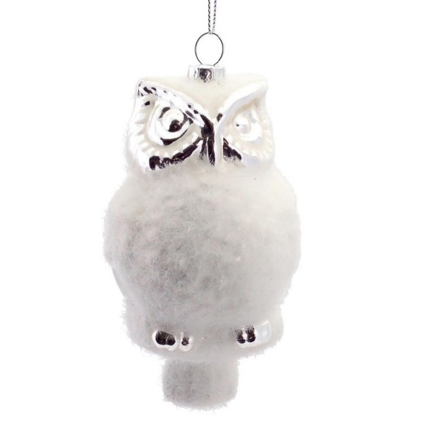 """5"""" Winter Light White and Silver Woodland Owl Glass Christmas Ornament"""