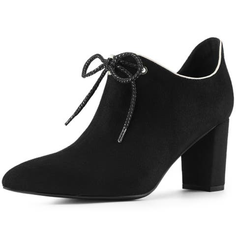 Women's Pointed Toe Chunky Heel Lace Up Ankle Booties