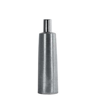 Narrow Mouth Ceramic Round Bottle Vase With Long Neck, Medium, Silver