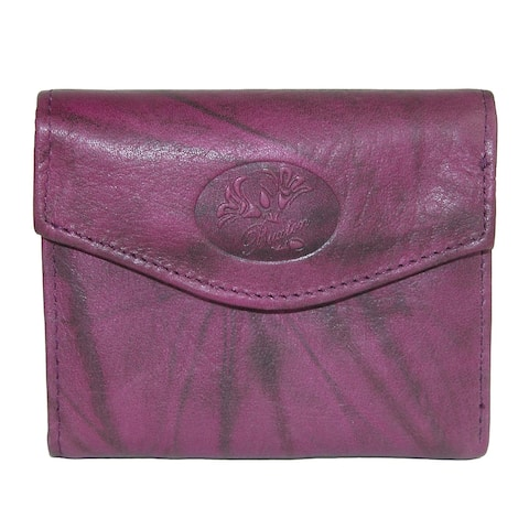 Buxton Women's Leather Mini Trifold Wallet with Floral Emboss - one size