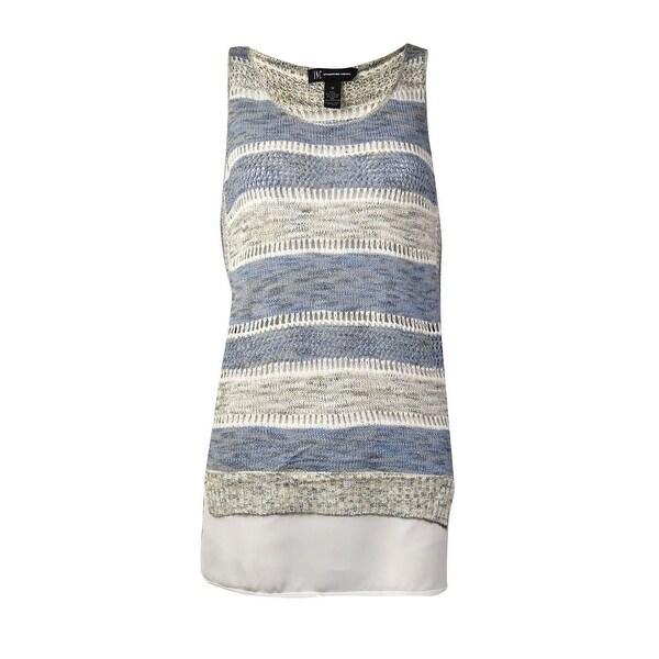 INC International Concepts Women's Striped Open Knit Top (M, Goddess Blue) - Goddess Blue - M