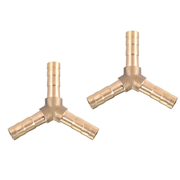 "15/64"" Brass Barb Hose Fitting Tee Y-Shaped 3 Ways Connector Adapter Joiner 2pcs - 6mm 2pcs"