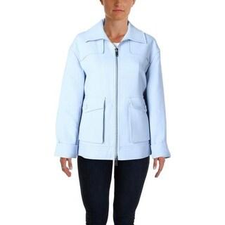 DKNY Womens Petites Zip Front Pocket Blazer - p