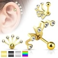 Five Crystal Set Fan Hanging 316L Surgical Steel Cartilage/Tragus Barbell (Sold Ind.) - Thumbnail 0