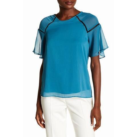 Nanette Lepore Blue Women's Size Large L Flutter Sleeve Blouse