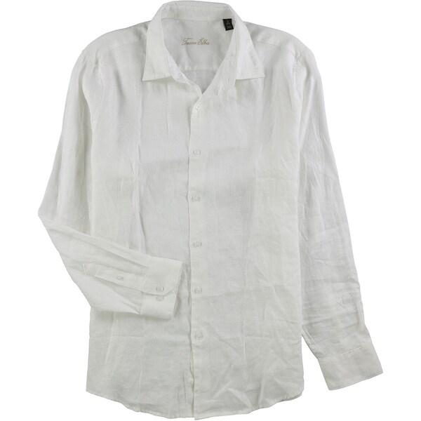 Tasso Elba Mens Cross Dyed Linen Button Down Shirt