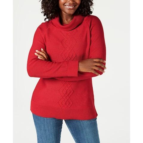 Karen Scott Women's Cotton Funnel-Neck Sweater Red Size Large