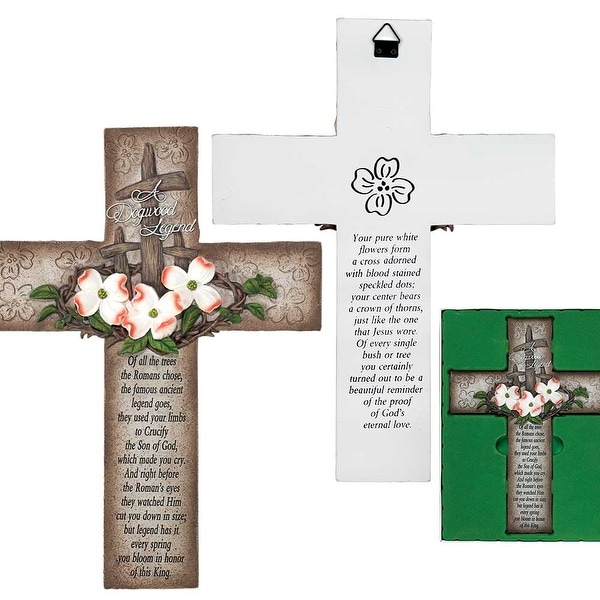"""12.25"""" Brown and White Religious Wall Cross with Crown of Thorns - N/A"""