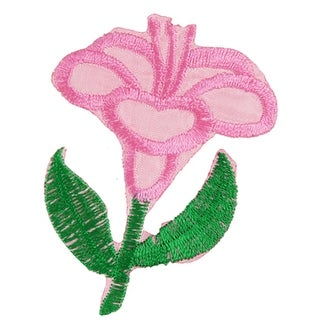 Unique Bargains Iron On Embroidered Flowers Design Applique Fabric Pink Green