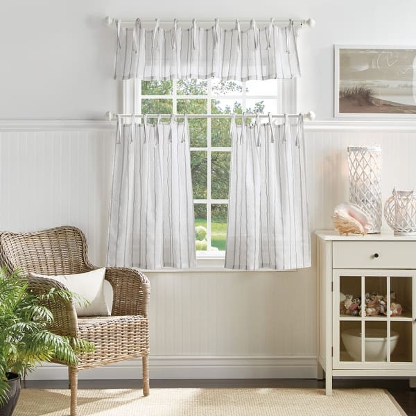 Martha Stewart Laguna Stripe 3 Piece Curtain Tier And Valance Set Overstock 31928100