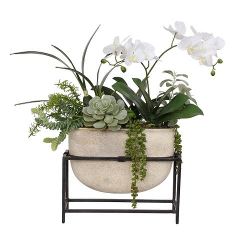 White Phalaenopsis Orchid with succulents in Vase with Metal Holder - 23W x 8D x 22H
