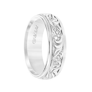 14k White Gold Wedding Band Domed Center High Polished Paisley Design and Milgrain Detail Round Edges by ArtCarved- 7 mm