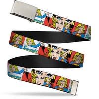 Blank Chrome Buckle Supergirl Panels White Webbing Web Belt