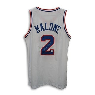 Moses Malone Philadelphia 76ers Autographed White Throwback Jersey Inscribed 2001 HOF