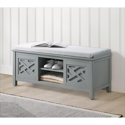 Porch & Den Altadena 45-inch Wide Wood Storage Bench with Cushion