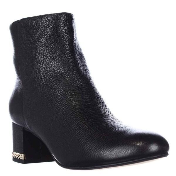 Michael Kors Sabrina Mid Chain Heel Booties, Black Smooth