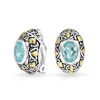 Bling Jewelry Imitation Aquamarine Oval Clip On Earrings Rhodium Plated - Blue