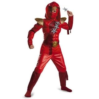 Boys Red Fire Ninja Classic Muscle Costume