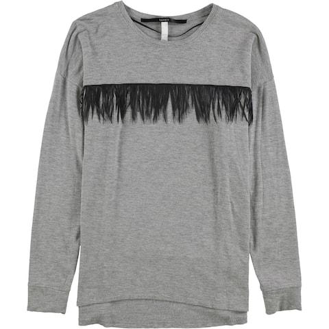 Kensie Womens Pleather Trim Sweatshirt, Grey, X-Small