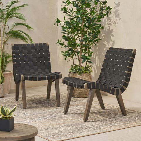 Charlotter Outdoor Rope and Acacia Wood Outdoor Lounge Chairs by Christopher Knight Home