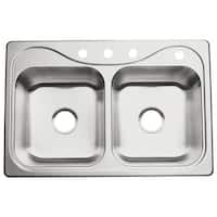 "Sterling 11401-4 Southhaven 33"" Double Basin Drop In Stainless Steel Kitchen Sink with SilentShield®"
