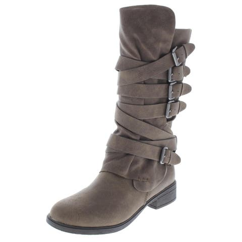 Report Womens Huck Mid-Calf Boots Faux Leather Heels