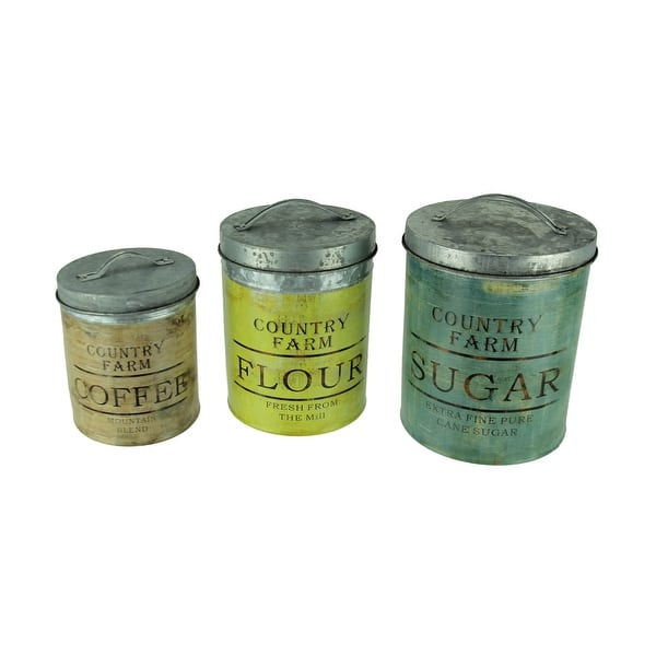 Shop Rustic Galvanized Tin Country Kitchen Canisters 3 Piece ...