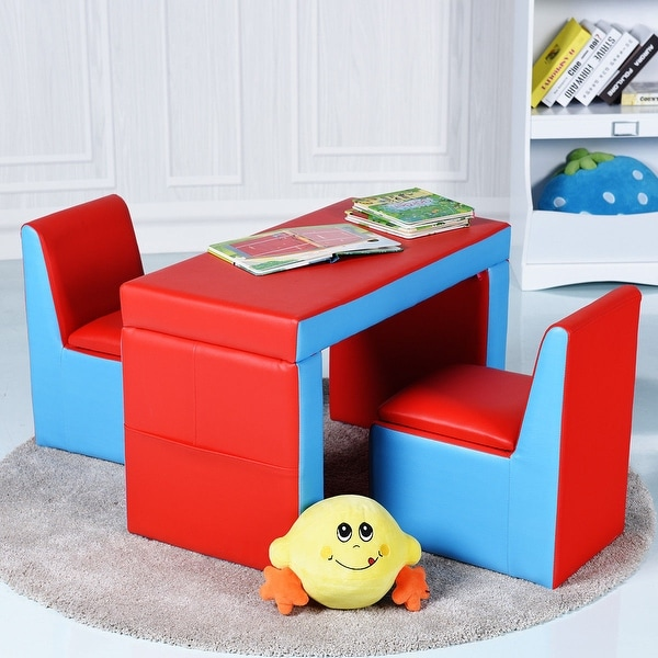 Shop Gymax Multi Functional Kids Sofa Table Chair Set Couch Storage