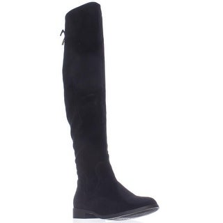 XOXO Trish Over The Knee Back Lace Boots - Black