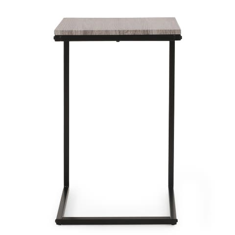 "Winfough Modern Industrial C-Shaped Side Table by Christopher Knight Home - 16.00"" L x 16.00"" W x 25.75"" H"