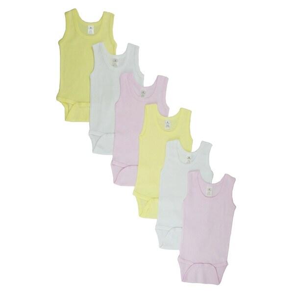 Girl's Pink, White, Yellow Rib Knit Pastel Sleeveless Tank Top Bodysuit 6-Pack