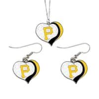 Pittsburgh Pirates  MLB Glitter Heart Necklace and Earring Set Charm Gift